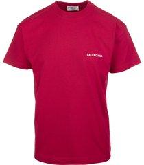 unisex red balenciaga wide line t-shirt