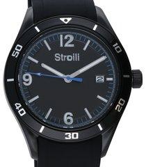 wimbledon orologio in acciaio con quadrante nero e cinturino in silicone nero per uomo