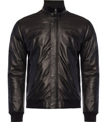 logo-embroidered leather jacket