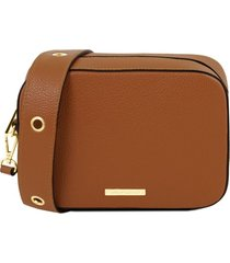 tuscany leather tl141733 tl bag - borsa a tracolla in pelle cognac