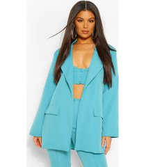 tailored oversized longline blazer, azure