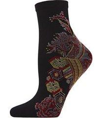 natori obi floral sheer anklet socks, women's, cotton
