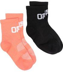 off-white logo-intarsia ankle socks set - black