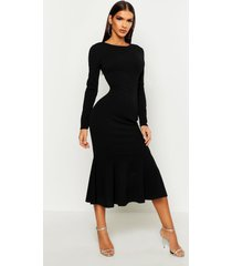 fishtail long sleeve midaxi dress, black