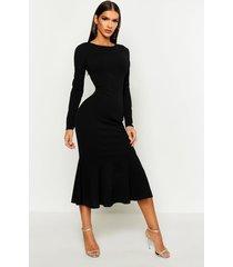 fishtail long sleeve midaxi dress, black