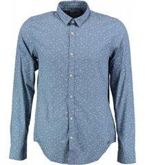 garcia blauw slim fit overhemd fine cotton valt kleiner