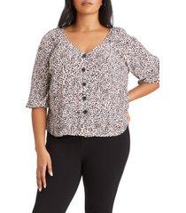 plus size women's sanctuary modern leopard print button-up blouse, size 1x - brown
