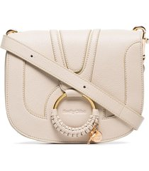 see by chloé hoop-embellished shoulder bag - neutrals