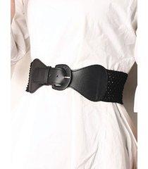 hollow out dress pin buckle elastic cinch belt
