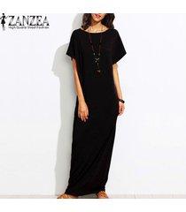 s-5xl zanzea mujer equipo del verano de manga corta cuello kaftan vestido de las señoras vestido de tirantes beach sólido ocasional flojo vestido largo maxi (negro) -negro