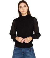 sweater manga brillos negro nicopoly