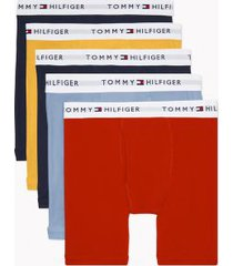 tommy hilfiger men's cotton classics boxer brief 5pk navy/old gold/fiery red/navy/power blue - m