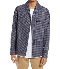 men's scotch & soda check shawl collar button-up shirt, size large - blue