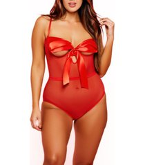 women's plus size open cup mesh lingerie bodysuit with ribbon tie