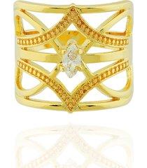anel dona diva semi joias largo dourado