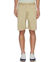elastic waist zip pocket chino shorts