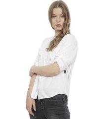 blusa ellus camisera bolsillo blanco - calce holgado