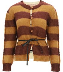 marni striped cardigan in wool and mohair