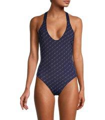 stella mccartney women's logo one-piece swimsuit - navy - size xs
