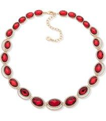 "anne klein gold-tone stone & crystal statement necklace, 16"" + 3"" extender"