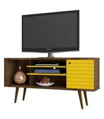 rack safira madeira rústica e amarelo móveis bechara
