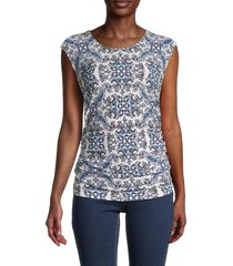 tommy hilfiger women's pysp print ruched top - ivory multi - size m