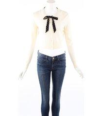altuzarra knit tie neck cream wool cashmere cardigan sweater cream sz: m