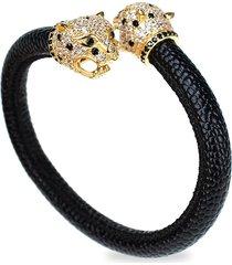cz by kenneth jay lane women's leopard heads flexible cuff bracelet