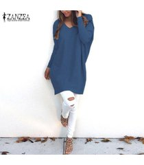 zanzea mujeres plus size túnica top blusa pullover jumper club party sweater dress -azul