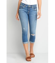 silver jeans co.® womens elyse medium ripped cuffed capri blue denim - maurices