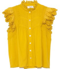 adrienne cotton flutter sleeve top in citron