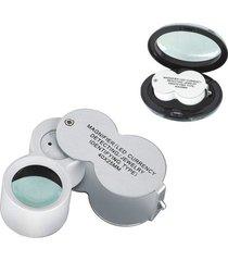lupa de bolso 40x 25 mm c/ 2 leds e luz negra 9888