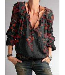 camicetta a maniche lunghe con scollo a v con stampa floreale vintage per donna