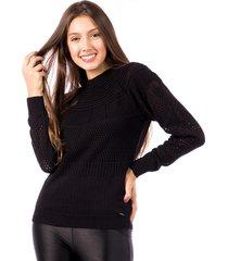 blusa tricot carlan africana manga raglan decote redondo preto