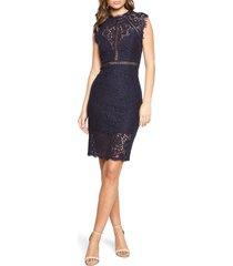 women's bardot lace sheath cocktail dress, size small - blue