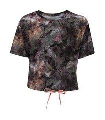 blusa feminina manga curta cropped jump floral estampado vestem