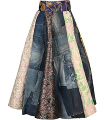 dolce & gabbana patchwork denim and jacquard midi skirt
