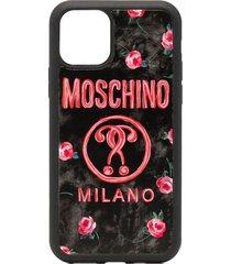 moschino floral logo print iphone 11 pro case - black