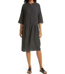 eileen fisher drop waist organic linen dress, size large in black at nordstrom