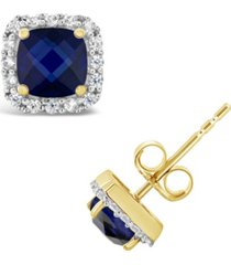 created blue sapphire (1-3/8 ct. t.w.) and created white sapphire (1/5 ct. t.w.) halo stud earrings in 10k yellow. also available in created opal (1/2 ct. t.w.)