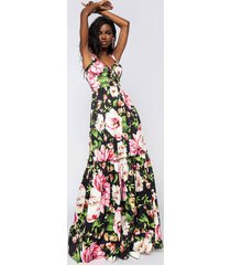 akira floral maxi dress with lace up