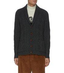 shawl collar cable knit cardigan