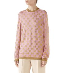 women's gucci crystal gg logo sweater, size medium - pink