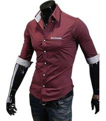 camisa trescuartos betop - vinotinto