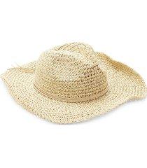hat attack women's woven paper cowboy hat - neutral gold