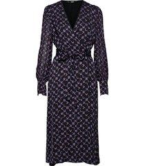 karl tetris printed wrap dress knälång klänning svart karl lagerfeld
