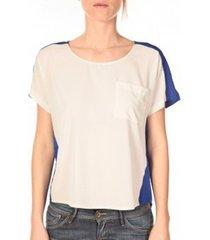 t-shirt korte mouw vero moda top félina 10074109 bleu/blanc