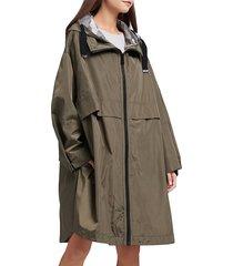 dkny women's logo rain jacket - juniper - size m