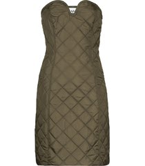ganni strapless quilted mini dress - green