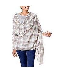 wool shawl, 'checkered grace' (india)